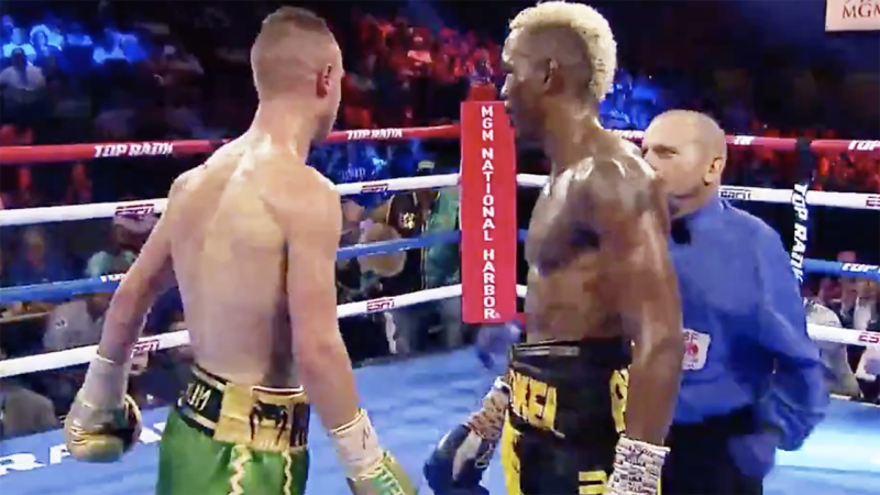 Maxin Dadashev (L) during his bout with Subriel Matias. Image: ESPN