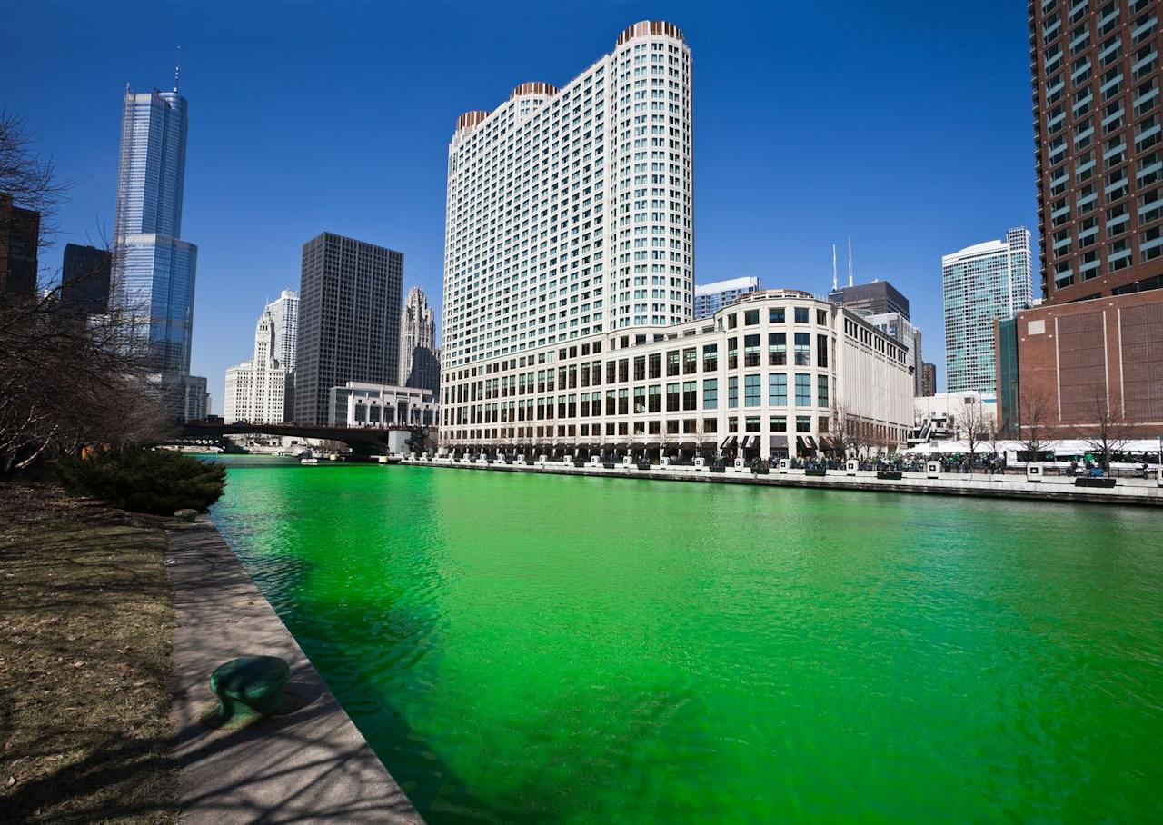 """<p>1962 was the first year the Chicago River was dyed green and 50lbs of dye are used each year. On March 14, you can attend the <a href=""""https://www.chicago.gov/city/en/depts/dca/supp_info/parade7.html"""" target=""""_blank"""">St. Patrick's Day Parade</a> and join in on a <a href=""""https://www.eventbrite.com/e/2020-chicago-st-patricks-day-bar-crawl-saturday-tickets-72907515341"""" target=""""_blank"""">bar crawl</a> after. Chicago's celebrations are one of the biggest in the country. </p>"""
