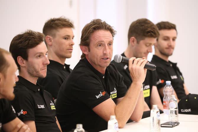 Mitchelton-Scott head sports director Matt White talks to the media at the 2019 Tour de France pre-race press conference