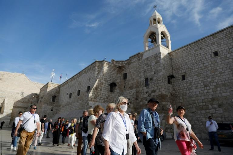 Crowds were eager to enter as the Church of the Nativity reopened n Bethlehem