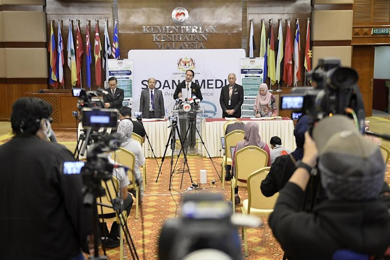 Health Director-General Datuk Noor Hisham Abdullah said Malaysia has recorded 57 new Covid-19 cases today, of which only four were local transmissions between Malaysians— Picture by Miera Zulyana