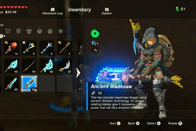 the legend of zelda breath wild best weapons bladesaw