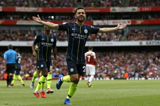 Manchester City's Bernardo Silva celebrates after scoring the second goal at Arsenal