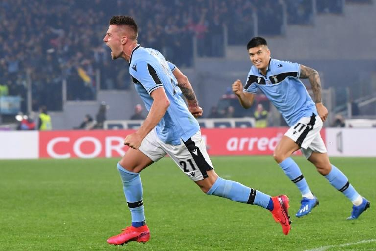 Lazio's Sergej Milinkovic-Savic (L) scored the winner in the Stadio Olimpico