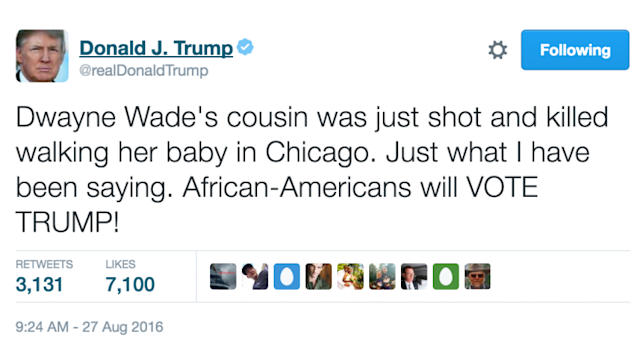 Donald Trump's tweet about Dwyane Wade's cousin. (Screenshot: @RealDonaldTrump/Twitter)