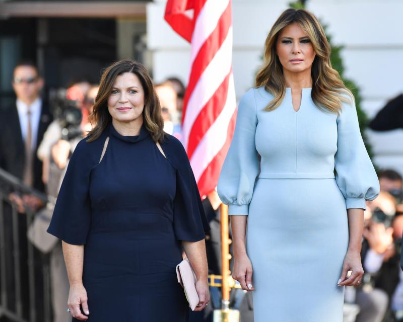 US First Lady Melania Trump stands at attention with the wife of Australian Prime Minister Jenny Morrison (L) during an Official Visit by the Australian PM at the White House in Washington, DC on September 20, 2019. (Photo by Nicholas Kamm / AFP) (Photo credit should read NICHOLAS KAMM/AFP/Getty Images)