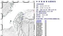 快新聞/地牛翻身!東北部海域13時07分發生規模6.4地震