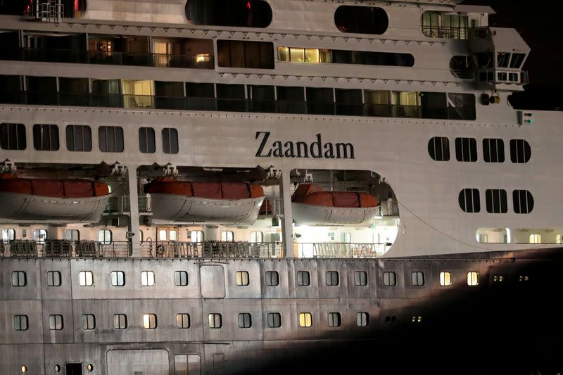 FILE PHOTO: The cruise ship MS Zaandam where passengers have died on board, as the coronavirus disease (COVID-19) outbreak continues, navigates through the pacific side of the Panama Canal