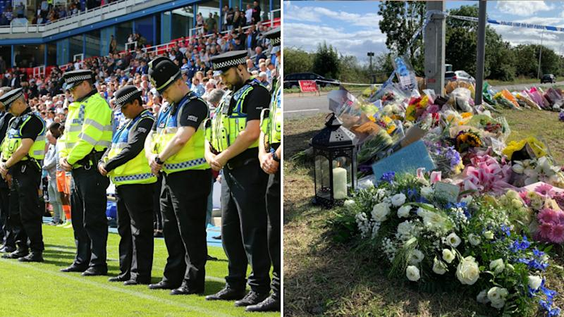 Photo of the moment of silence at the Reading FC and Cardiff City football game and the flower tributes left at the crime scene.