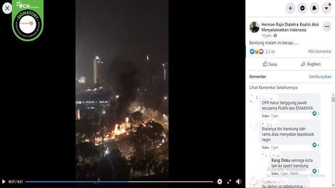 Gambar Tangkapan Layar Video Suasana Kerusuhan di Jakarta