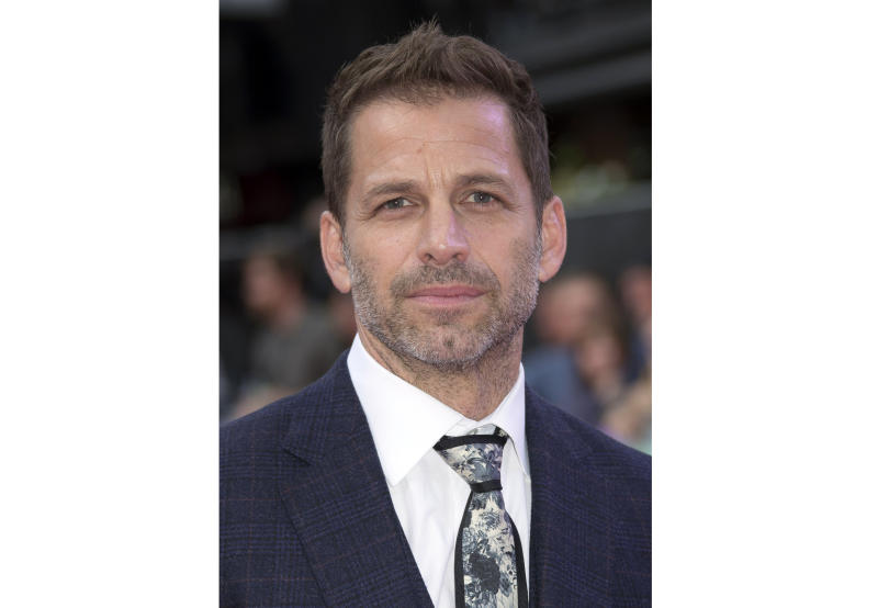 "FILE - This Aug. 3, 2016 file photo shows director Zack Snyder at the premiere of ""Suicide Squad"" in London. Warner Bros. Pictures say that Snyder's cut of 2017′s ""Justice League"" will debut next year on the streaming service HBO Max.  (AP Photo/Joel Ryan, File)"