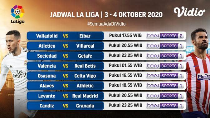Jadwal La Liga pekan kelima di Vidio. (Sumber: Vidio)