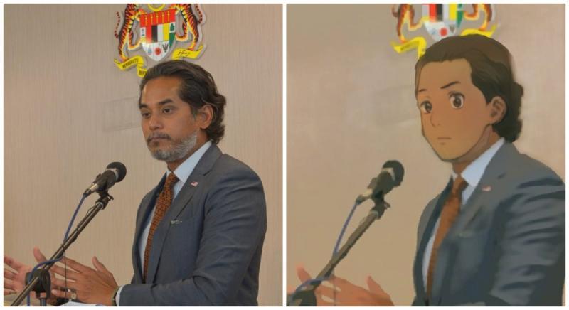 Khairy Jamaluddin and Anime Khairy. Original photo by Khairy Jamaluddin/Facebook