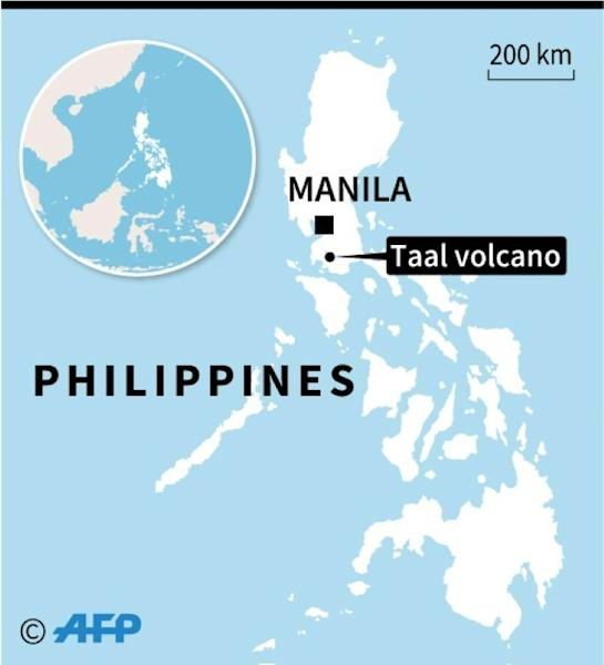 Map locating the Taal volcano in the Philippines where thousands of people have been evaculated after authorities said Sunday it could erupt imminently