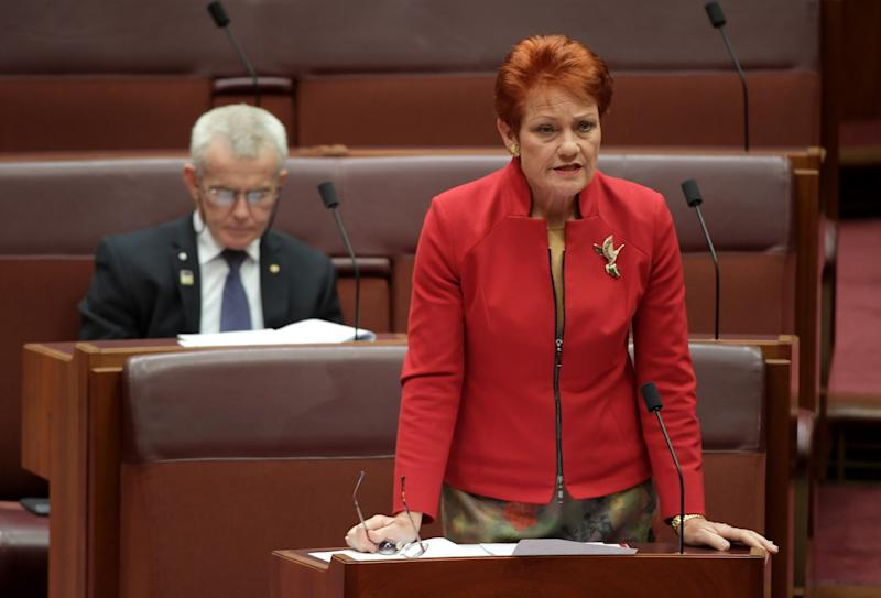 One Nation Senator Pauline Hanson and Senator Malcolm Roberts in the Senate at Parliament House.