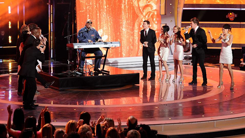 "Stevie Wonder sings to help celebrate Steven Tyler's birthday on ""American Idol."""