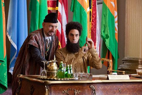 """In this film image released by Paramount Pictures, Ben Kingsley portrays Tamir, left, and Sacha Baron Cohen portrays Admiral General Aladeen in a scene from """"The Dictator."""" (AP Photo/Paramount Pictures, Melinda Sue Gordon)"""