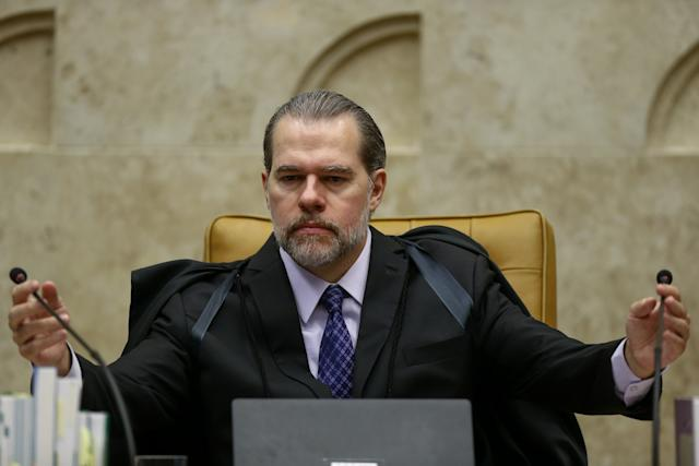***存档***巴西布拉西亚,DF,11.07.2019-在迪亚斯·托菲里部长的主持下,最高法院会议继续审理对二审定罪后逮捕的可能性提出质疑的行动,在巴西利亚(DF)。 (照片:Pedro Ladeira / Folhapress)