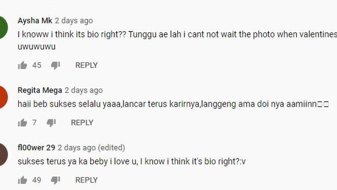 Beberapa komentar di unggahan video Baby Tsabina yang menebak siapa sosok spesialnya/copyright youtube Baby Tsabina