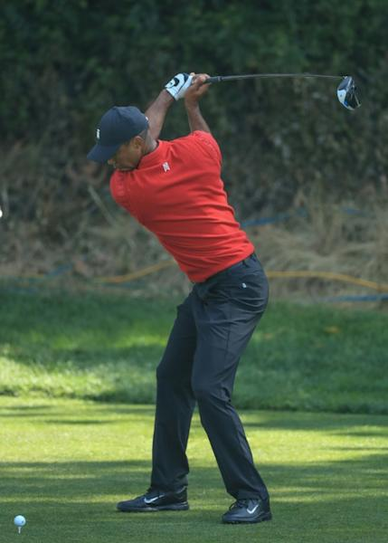 Tournament host Tiger Woods on the way to a six-over par 77 that left him in 68th place in the US PGA Tour Genesis Invitational at Riviera Country Club