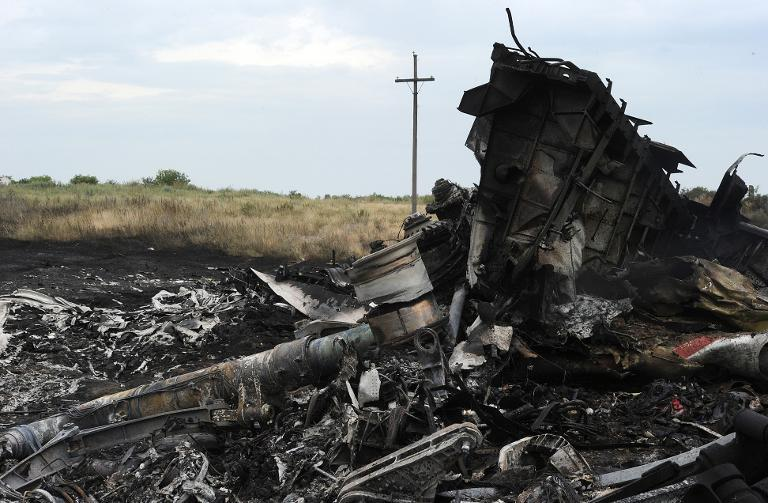 A picture taken on July 18, 2014 shows the wreckages of the Malaysia Airlines jet a day after it crashed, near the town of Shaktarsk, in rebel-held east Ukraine