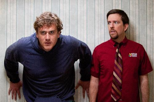 """In this film image released by Paramount Vantage, Jason Segel plays Jeff, left, and Ed Helms plays Pat in a scene from """"Jeff, Who Lives at Home."""" (AP Photo/Paramount Vantage, Hilary Bronwyn Gayle)"""
