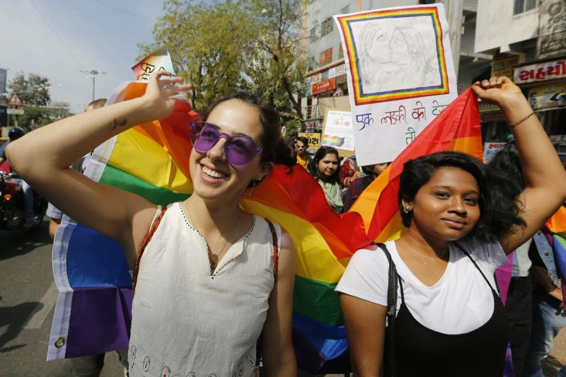 (file photo) Supporters and members of LGBT community participate in a queer pride parade in Ahmedabad on February 24, 2019. Homosexuality has gained a degree of acceptance in deeply conservative India over the past decade, particularly in big cities. (AP Photo/Ajit Solanki)