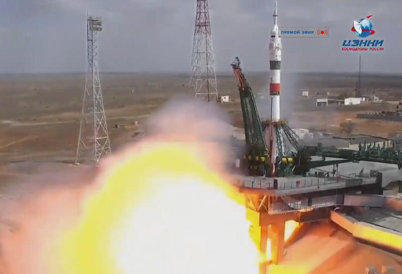 In this grab taken from video footage released by Roscosmos Space Agency the Soyuz-2.1a rocket booster with Soyuz MS-16 space ship carrying a new crew to the International Space Station, ISS, blasts off at the Russian leased Baikonur cosmodrome, Kazakhstan, Thursday, April 9, 2020. The Russian rocket carries U.S. astronaut Chris Cassidy, Russian cosmonauts Anatoly Ivanishin and Ivan Vagner. (Roscosmos Space Agency via AP)