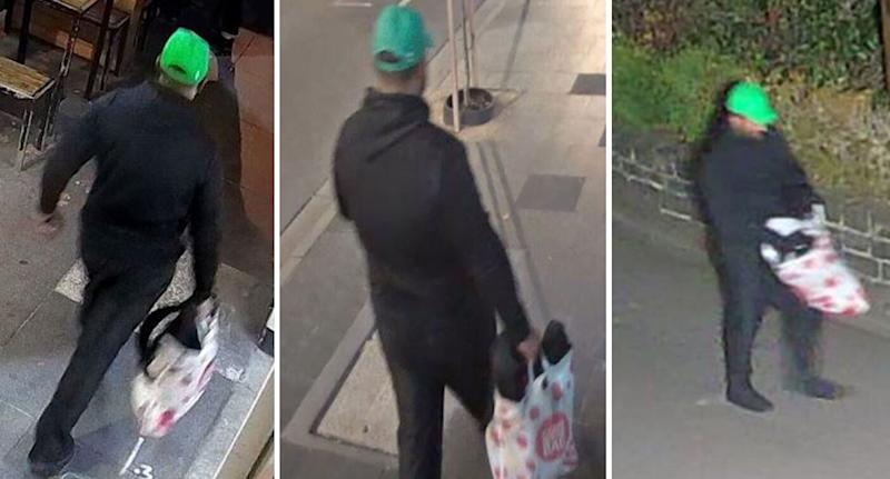 The man was wearing a distinctive green hat and carrying a Coles shopping bag while walking through a Melbourne park.