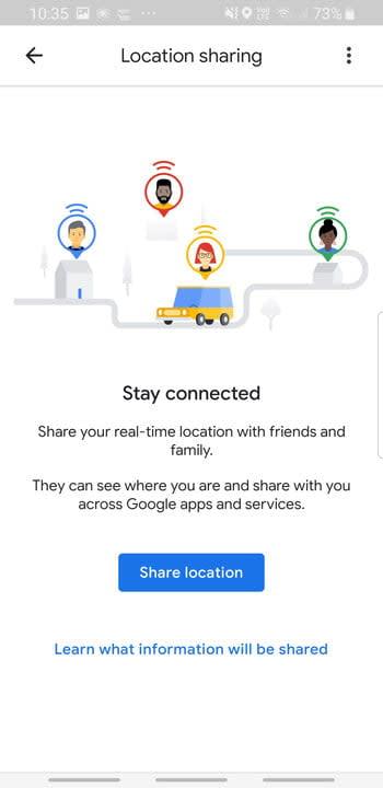 Screenshot of Google Maps Location sharing feature