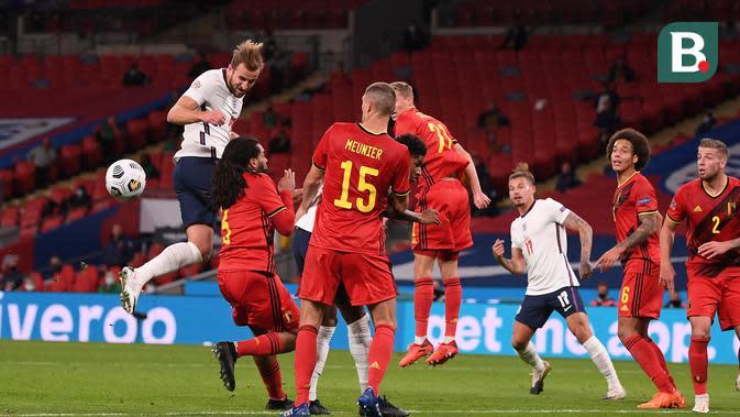 Inggris mengalahkan Belgia 2-1 di Stadion Wembley, London, Minggu (11/10/2020) pada UEFA Nations League 2020/2021. (Michael Regan/AFP)
