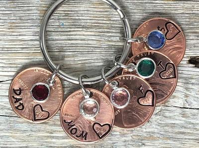 Gift For Her Personalized Family Keychain Mom Penny Keychain Mom or Dad Birthday Gift Custom Family Gift Customized Mom Keychain