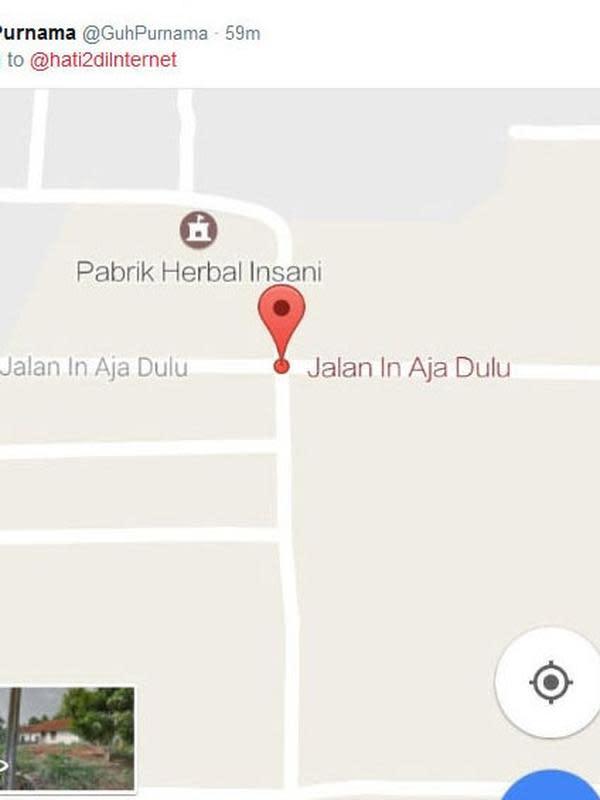 Nama jalan dan gang yang bikin tepuk jidat, kocak banget! (Sumber: Twitter/@GuhPurnama)