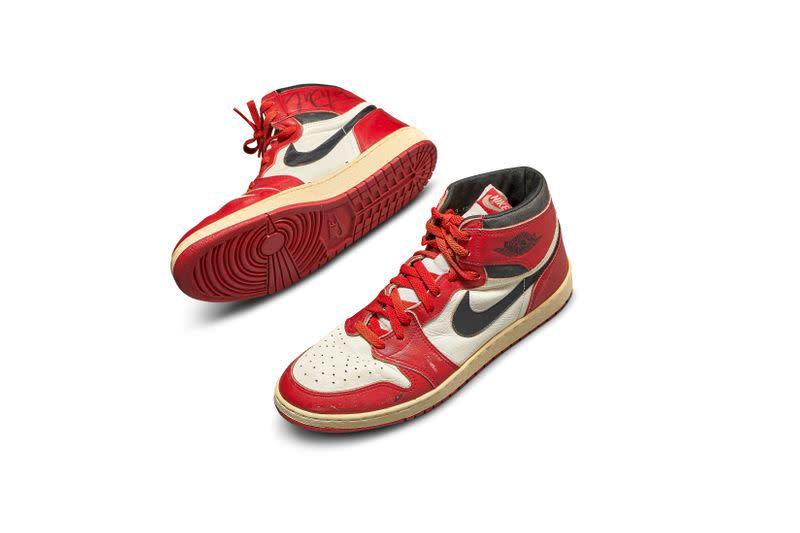 A pair of 1985 Nike Air Jordan 1s, made for and worn by U.S. basketball player Michael Jordan