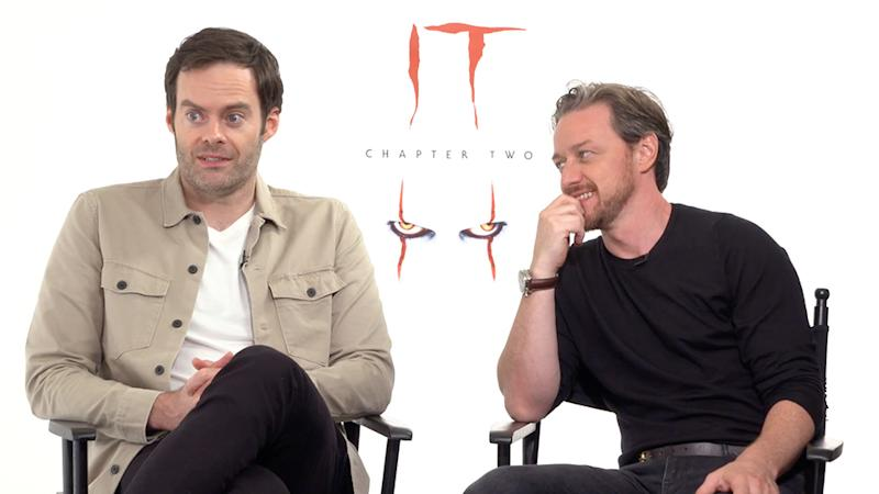 IT: Chapter Two stars James McAvoy and Bill Hader in an interview for their new film. Photo: Roadshow Films.