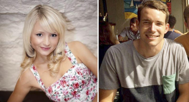 British students Hannah Witheridge (L) and David Miller (R) Source: AAP