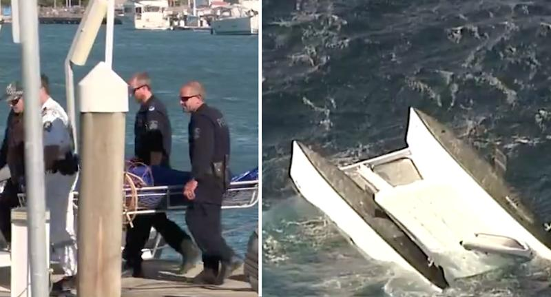 Photo of a victim being carried from the scene and the overturned boat in the ocean off the NSW coast.