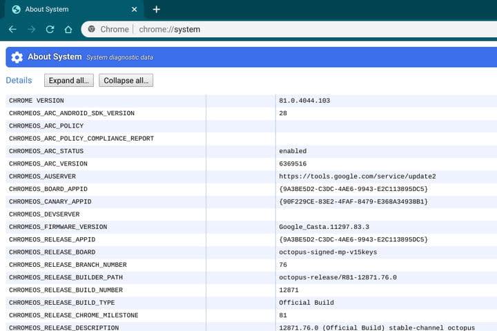 Chromebook System Information