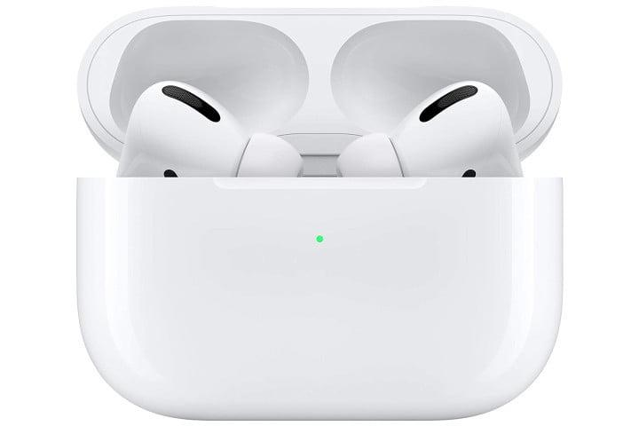 Picture shows Apple Airpods Pro in a wireless charging case