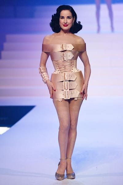 The corset, another of Gaultier's signature items, was reinterpreted in multiple ways, as seen in this dress worn by Dita Von Teese. Paris, January 22, 2020