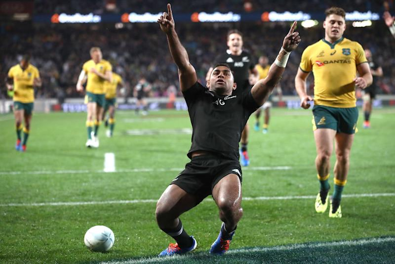 Sevu Reece of the All Blacks celebrates his try during The Rugby Championship and Bledisloe Cup Test match between the New Zealand All Blacks and the Wallabies at Eden Park on August 17, 2019 in Auckland, New Zealand. (Photo by Phil Walter/Getty Images)