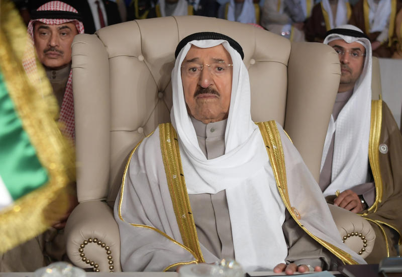 Kuwait's Emir Sheikh Sabah al-Ahmad al-Jaber al-Sabah attends the opening of the 30th Arab Summit in Tunis, Tunisia, Sunday, March 31, 2019. Leaders meeting in Tunisia for the annual Arab League summit on Sunday were united in their condemnation of Trump administration policies seen as unfairly biased toward Israel but divided on a host of other issues, including whether to readmit founding member Syria. (Fethi Belaid/ Pool photo via AP)