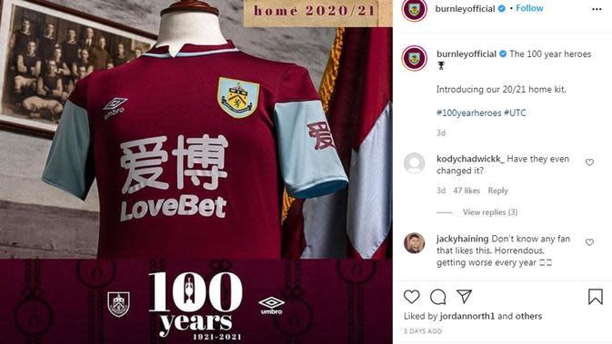 Seragam Burnley. (Instagram)