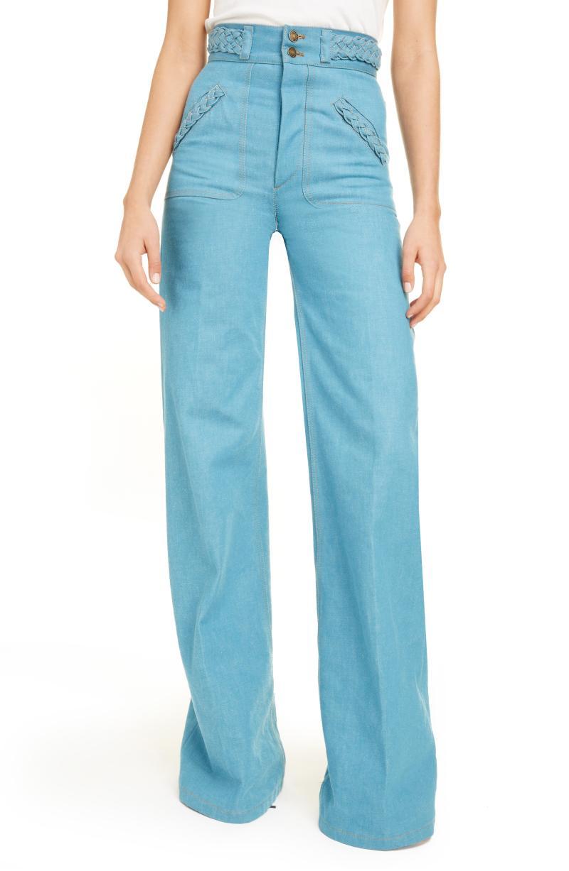 Marc Jacobs Braided High Waist Flare Leg Jeans. Image via Nordstrom.