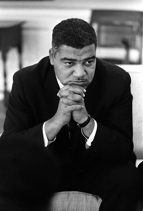 "This image provided by the LBJ Presidential Library shows Whitney Young during a meeting with President Lyndon Johnson in the Oval Office of the White House in Washington, on Jan. 18, 1964. Rep. John Lewis, D-Ga., tells the story of Young's boldness in dealing with civil rights issues in ""The Powerbroker: Whitney Young's Fight For Civil Rights"" a documentary airing during Black History Month on PBS' Independent Lens and shown in some community theaters. (AP Photo/LBJ Presidential Library, Yoichi Okamoto)"