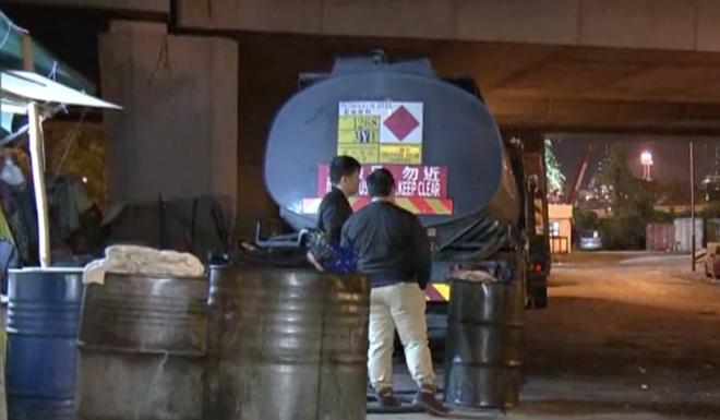 Illegal storage of diesel contravenes the Dangerous Goods Ordinance. Photo: Now TV