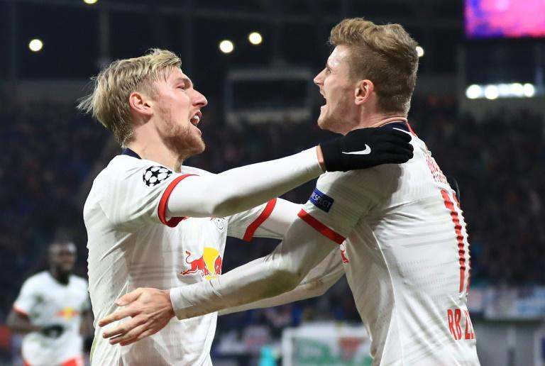 Emil Forsberg (L) scored an incredible late brace to put RB Leipzig in the last 16