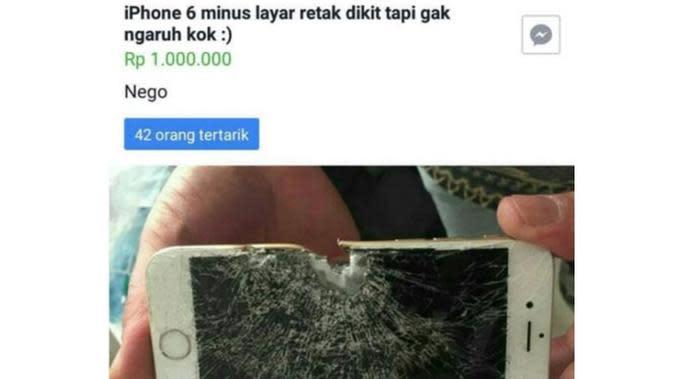 6 Status Facebook Jual HP Kondisi Rusak Parah Ini Bikin Geregetan (sumber: Instagram.com/ngakakkocak)