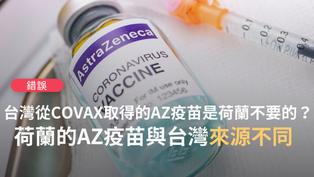 【錯誤】網傳「荷蘭禁止60歲以下施打AZ疫苗後,從荷蘭送AZ疫苗抵台,這是人家不要的」?