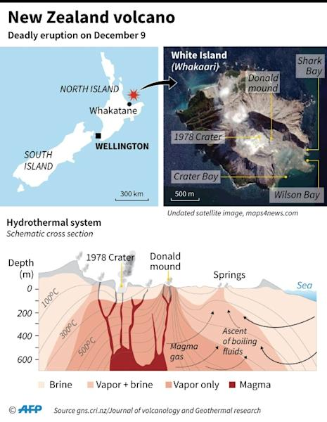 Map locating White Island volcano in New Zealand